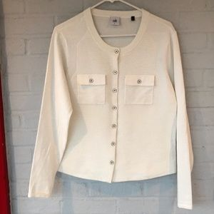 Cabi White Cotton Cardigan with Pearl buttons